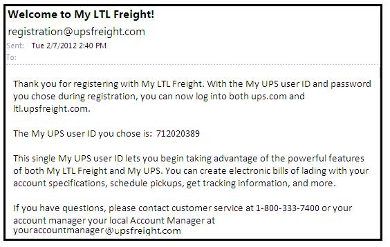 Register with UPS Freight Instructions